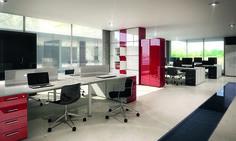 Panel #Luxe alto brillo rojo y blanco para #diseño de #oficina.