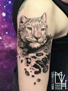 Snow leopard tattoo. Done by Mel van Hel, Lingen (Germany)