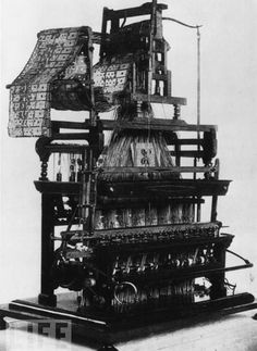 This weaving loom, designed by Joseph Marie Jacquard in 1801, was the first machine to use punched cards to control a series of sequences — a key step in the development of computer programming.                                                                                                                                                                                 More