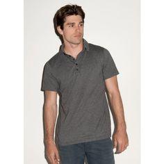 Canvas Jersey 5 Button Polo / #Mens Short Sleeve #Polo #Shirts