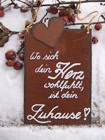 """Spruchtafel - Edel-Rost -Tafel - Garten - Schild - """"Wo sich dein Herz wohlfü..."""""""