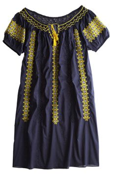 "Romanian Dress $169.00 by CALYPSO St. Barth intricately embroidered shift dress drawstring neckline front ties 35.5"" long 50"" at bust 9.75"" sleeve measurements taken from size small cotton"