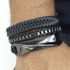 Kit 3 Pulseiras Masculinas Couro Corrente Chan Luu Trançado mens bracelets fashion style