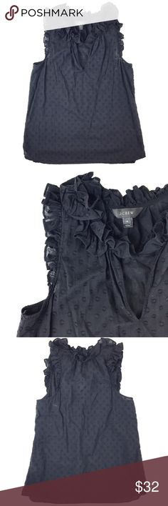 """(Black) J. Crew Ruffle Top J. Crew Ruffle Top in clip dot made of 100% cotton with a length of 23"""" and bust of 34"""". Size 4. Good (some fading from washes) condition. Retail $78. J. Crew Tops Blouses"""