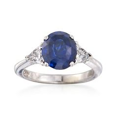 C. 1990 Vintage 3.85 Carat Sapphire and .75 ct. t.w. Diamond Ring in 14kt White Gold. Size 7