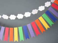 Items similar to Clouds and Rainbows banner, Rainbow Party, Rainbow bunting, Rainbow paper garland on Etsy Rainbow Parties, Rainbow Birthday Party, Unicorn Birthday, 1st Birthday Parties, Birthday Fun, Rainbow Bunting, Rainbow Paper, Rainbow Theme, Rainbow Colors