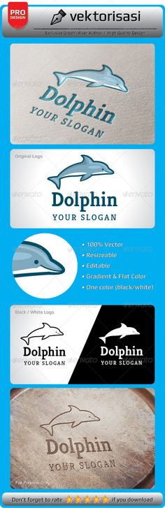 Dolphin Logo — Photoshop PSD #fun #marine • Available here → https://graphicriver.net/item/dolphin-logo/5252194?ref=pxcr