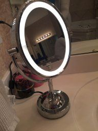 5x magnified lighted makeup mirror lights chrome finish and makeup amazon conair oval shaped double sided lighted makeup mirror 1x mozeypictures Image collections