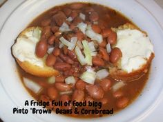 With Ham or without, delicious Pinto Beans and Cornbread muffins. A Fridge Full of Food blog