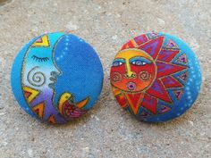 """Our """"Udaya"""" Sun & Moon button earrings :) Udaya, from the ancient Sanskrit meaning """"the rising of the sun and moon"""" www.zoetikmovement.com"""