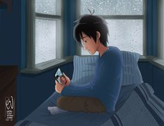 """Hiro Hamada- """"It still hurts."""" Hiro looks at the picture of himself and his older brother, Tadashi and he misses Tadashi very much."""