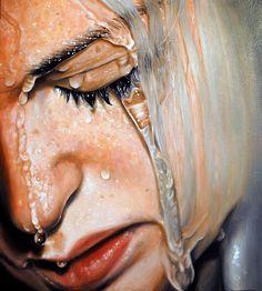 """Tear me apart"" - Linnea Strid {#hyperreal wet water female head woman face portrait painting}"