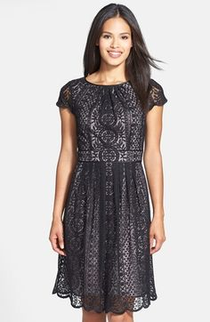 Adrianna Papell Lace Fit & Flare Dress (Regular & Petite) - dress for pear body shape #pearbody