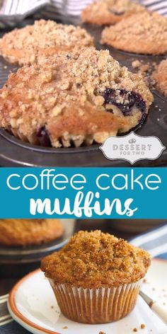 Coffee cake muffins with cinnamon crumb topping, a small batch recipe makes 4 muffins for two people. The perfect breakfast in bed option. The BEST crumb topping and DOUBLE crumb topping, too!! #coffee #coffeecake #muffins