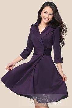 Tbdress.com offers high quality Elegant Slim Three Quarter Sleeve Day Dress Casual Dresses unit price of $ 26.49.