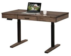 """Amish Urbana Sit & Stand Desk Avoid the ills of sitting too long with an Urbana Sit & Stand Desk. Adjusts from 28"""" up to 50"""" height. Built in choice of wood and stain. Made in America."""