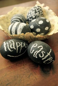 Why the heck not? I love chalkboard everything! I've even painted it on rocks. So, why not eggs? I painted black chalkboard paint onto paper mache eggs that I bought at the …