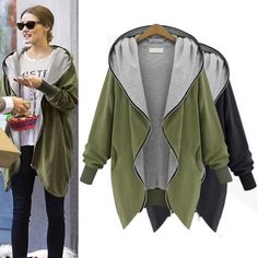 Women Celebrity Zipper Jackets Coat Hoodie Parkas Outwear Hooded Overcoat Plus