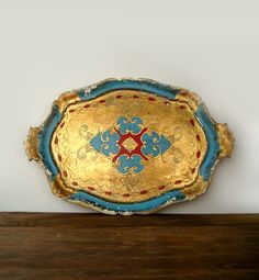 Italian Gold, Turquoise and Red Florentine Tray