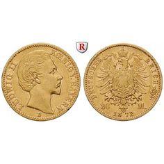 Deutsches Kaiserreich, Bayern, Ludwig II., 20 Mark 1872, D, ss, J. 194: Ludwig II. 1864-1886. 20 Mark 1872 D. J. 194; GOLD, sehr… #coins