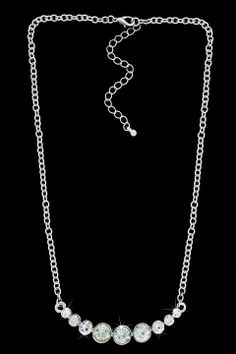 Glam & Glitter Link Chain and Nine Graduated Crystals Necklace - Beyond the Rack