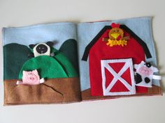 This adorable set of pages, has a barn, with opening door, hills, mud and 4 finger puppets. Each puppet fits in a special spot!    This set of pages