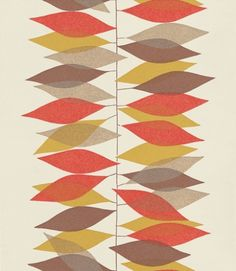 Miro (210233) - Sanderson Wallpapers - Hand drawn vertical lines with leaf shapes, placed as made of tissue paper to create a strong stripe effect. Shown in the red gold on off white. Other colourways available. Please request sample for true colour match.