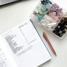 Finally sat down and took count of all the crystals I have on hand - this really put into perspective that I have a spending habit I just cant help myself I see a beautiful crystal thats shaped perfectly and it asks me to take em home. Em Home, Pilot Pens, Put Things Into Perspective, Bujo, Count, Minimal, Bullet Journal, Note, Gemstones