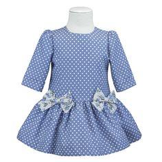 vestido de niña talle bajo familia topitos
