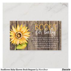 Sunflower Baby Shower Book Request Enclosure Card Baby Shower Yellow, Baby Shower Niño, Gold Baby Showers, Baby Shower Diapers, Baby Yellow, Baby Shower Parties, Sunflower Baby Showers, Sunflower Party, Baby Shower Invitaciones