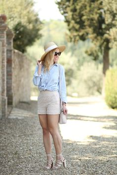 Stripes & Lace: blue striped chambray button-down, lace high waist shorts, J. Crew wide-brimmed straw hat, Valentino white 'Rockstud' gladiator sandals, Brahmin 'Mini Duxbury' bag, high waist shorts outfit for summer