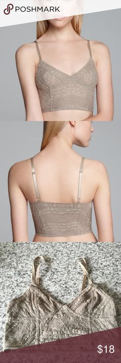 Free people taupe bralette Free people trendy lace bralette with adjustable straps. It has a lace overlay and looks great under anything. Free People Intimates & Sleepwear Bras