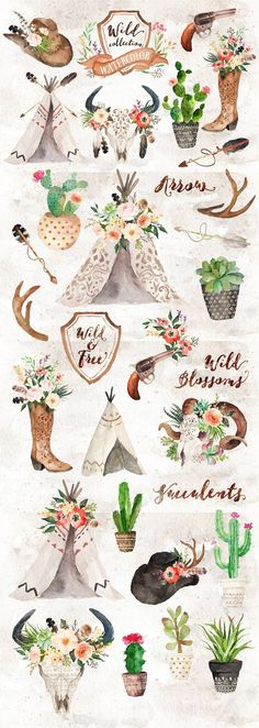 Watercolor Wild West Collection by Graphic Box on Creative Market. Beautiful watercolour graphics vector elements cacti cactus teepee wild wild west western arizona. Affiliate link.