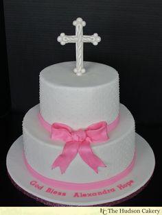 Simple Girl Baptism Cakes Design | Pink Shimmer Christening Cake {Religious Cakes} | The Hudson Cakery