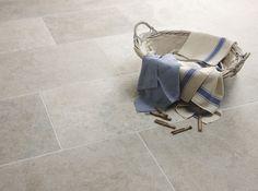 more beige? Less color variation Classic Blenheim Grey Brushed Limestone @ Turkey origin. Flagstone Flooring, Limestone Flooring, Travertine Tile, Stone Tiles, Gray Tile Floors, Ceramic Flooring, Hall Flooring, Modern Flooring, Kitchen Flooring
