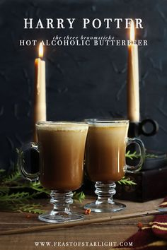 Harry Potter: Hot Alcoholic Butterbeer recipe from The Three Broomsticks Harry Potter Drinks, Harry Potter Food, Harry Potter Butterbeer, Alcoholic Butterbeer, Alcoholic Drinks, Beverages, Beer Recipes, Alcohol Recipes, Cocktail