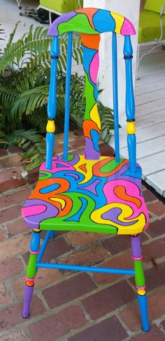 Handpainted OOAK Chair Custom Colorful Painted Chair by PinkOkra Whimsical Painted Furniture, Hand Painted Chairs, Painted Stools, Hand Painted Furniture, Funky Furniture, Paint Furniture, Repurposed Furniture, Furniture Makeover, Painted Tables