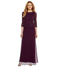 Alex Evenings Sequined Lace and Chiffon Gown #Dillards