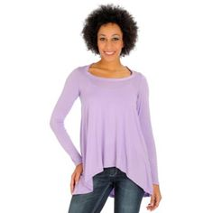 Suzanne Somers High-Low Hem Long Sleeve Flowy Top.