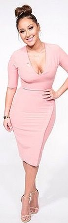 Adrienne Bailon The Real Daytime dusty pink bodycon dress