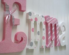 Decorated letters for baby room decorating wooden wood nursery name sign be Wood Nursery, Nursery Letters, Girl Nursery, Nursery Decor, Wood Letters Name, Canvas Letters, Letter Wall, Framed Letters, Wood Names