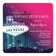 Chic Modern Las Vegas Bachelorette Party Card