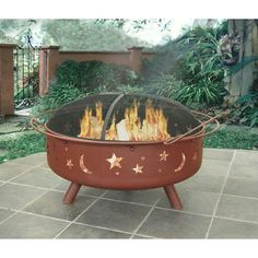 Large and unique, the Super Sky fire pit has the capability to burn a large amount of firewood for super fires. The stylish star and moon cutouts create an incredible ambience at night. This fire pit is constructed out of sturdy steel designed for your co Steel Fire Pit, Wood Burning Fire Pit, Fire Pits, Outdoor Fire, Outdoor Decor, Outdoor Spaces, Outdoor Living, Outdoor Toys, Outdoor Stuff