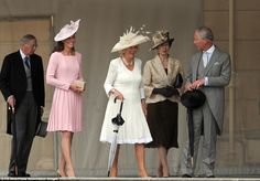 Happy family: The Duchess of Cambridge, the Duchess of Cornwall, the Princess Royal and the Prince of Wales arrive at the garden party Garden Parties, Buckingham Palace Garden Party, Kate Middleton Hats, Prince William And Catherine, Prince Charles, Princesa Kate, Duchess Of Cornwall, Royal Fashion, Women's Fashion