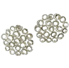 Sterling Silver Honeycomb Cells Earrings. Handmade rhodium plated sterling silver earrings.