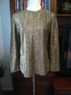 Vintage Gold and Black Metallic Pullover Top/Shirt by PDeeVintage, $8.45