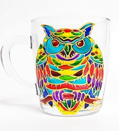 Owl Coffee Mug. Tea glass cup 11 1/4 oz. by HandPaintedGlassArtS
