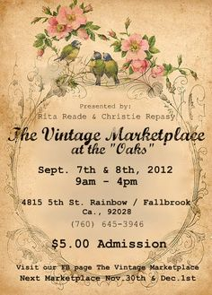 "I would like to send a big Thank You to all the WONDERFUL customers,friends and family who came to the show...It was especially great to meet all our new pinterest friends...Save the date for our Fall ""Rustic Romance"" themed show..sept 7th&8th 2012"