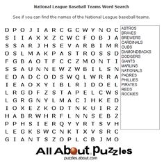 Sports Word Search Puzzles to Print: National League Baseball Teams Word Search
