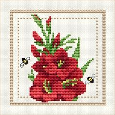 Project 2010 - Flower of the Month Motif 08 for August: Gladiolas free cross stitch pattern on Ellen Maurer-Stroh at  http://www.maurer-stroh.com/EMS2010_August_08.html